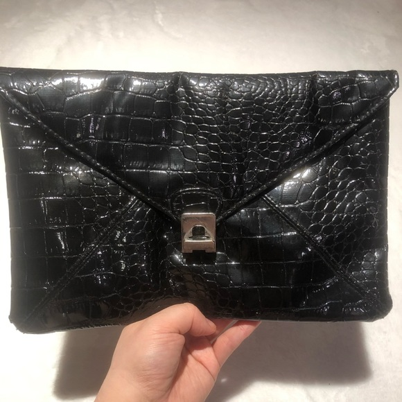 Large Faux Snake Skin Clutch